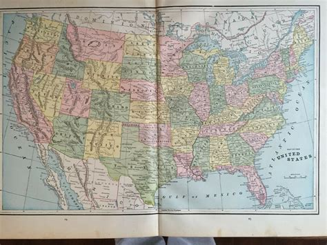 color map of united states antique color map of the united states circa 1893 ebay