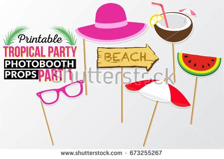 printable photo booth props beach set printable tropical party photo booth stock vector