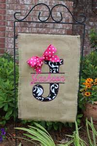 Patio Flags by Burlap Monogrammed Garden Flag Split Letter With Bow You