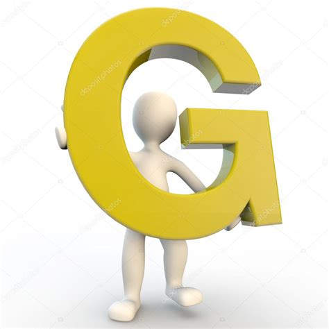 Character Letter G 3d Human Character Holding Yellow Letter G Stock Photo 169 Pedjami 12361724