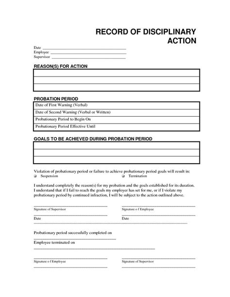 record disciplinary action  office form template  bar pinterest
