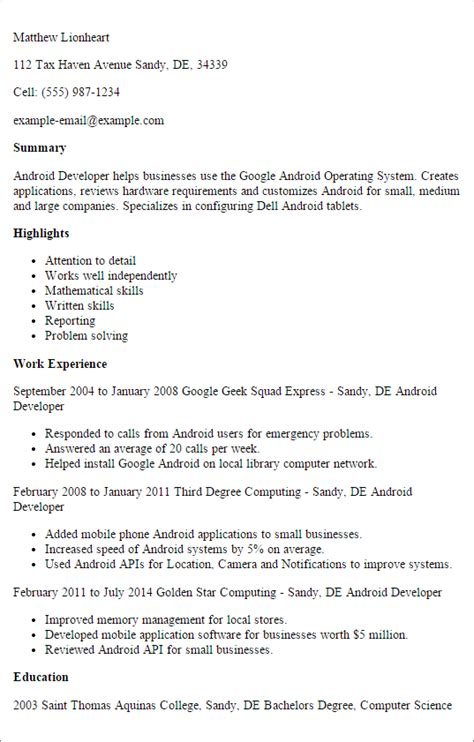 Android Developer Resume by Professional Android Developer Templates To Showcase Your
