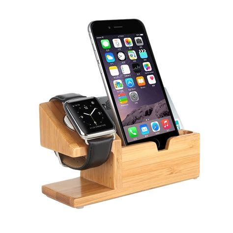 Bamboo Wooden Desk Stand Usb Charger Apple Watch Iphone Iphone Desk Stands