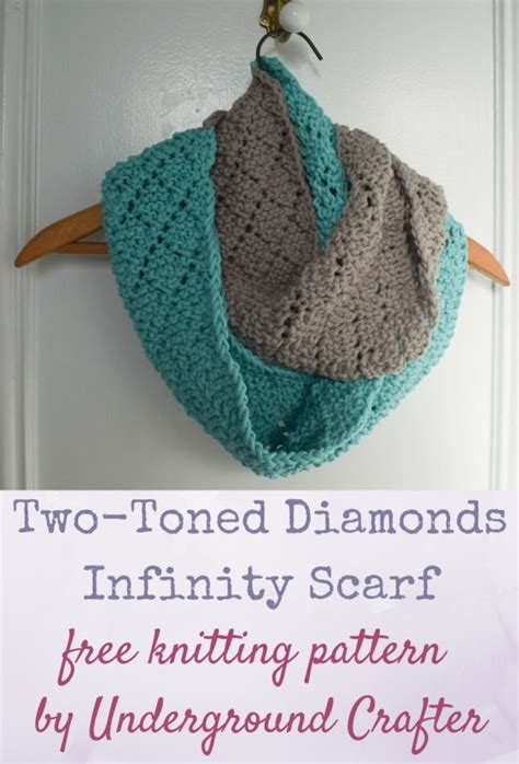 free knitting pattern for infinity scarf knitting pattern two toned diamonds infinity scarf