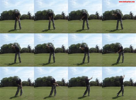 proper iron swing proper divot location well ahead of the ball golf lag