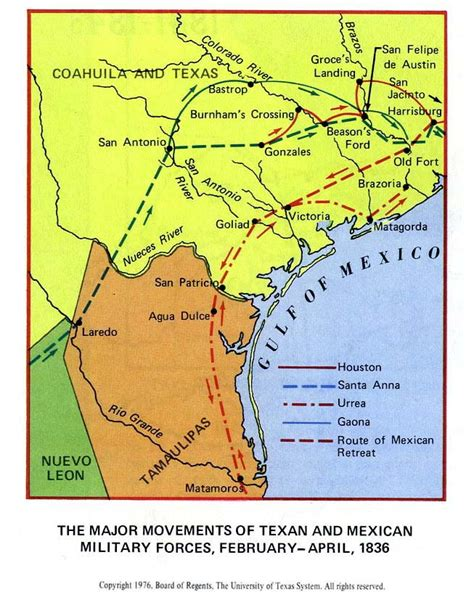texas 1836 map texan and mexican forces in texas 1836 map texas mappery