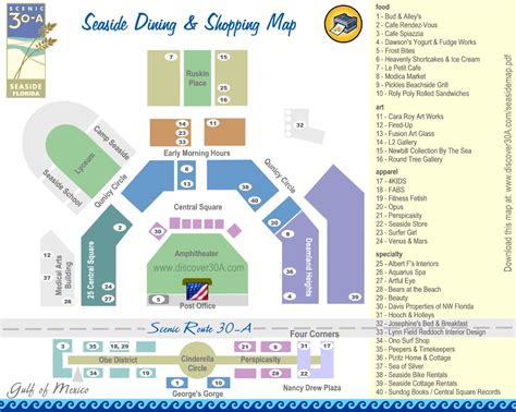 map of seaside florida seaside dining and shopping map discover 30a florida