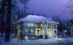 winter house zima winter 1920x1200 049 dom 3d tapety na pulpit