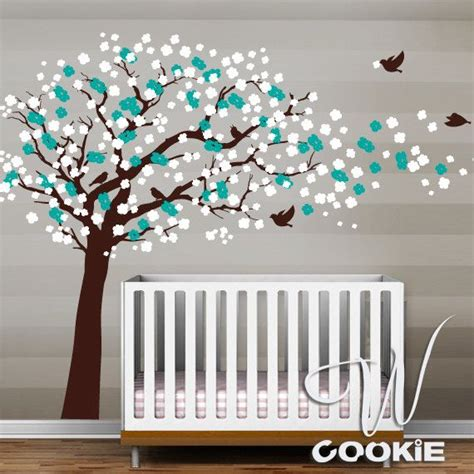 Cherry Blossom Wall Decal For Nursery Cherry Blossom Tree With Birds Nursery Wall Decal 132 00 Via Etsy Lil Ski Decor