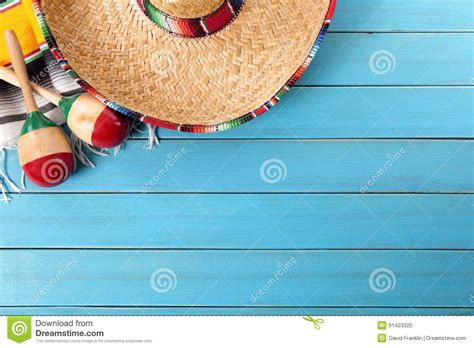 mexican themed powerpoint template mexico mexican sombrero blue wood background copy space