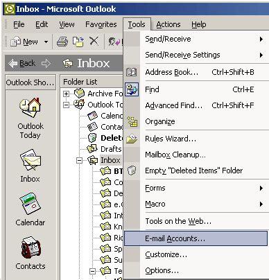 configure xp e mail outlook 2003 2002 xp setting up a zen e mail address