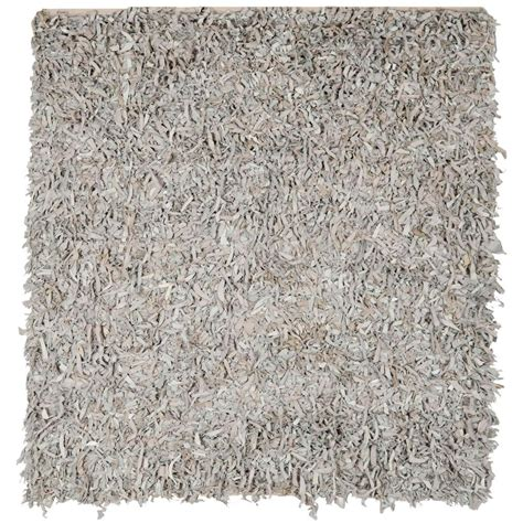 Safavieh Leather Shag White 8 Ft X 8 Ft Square Area Rug 8ft Rugs