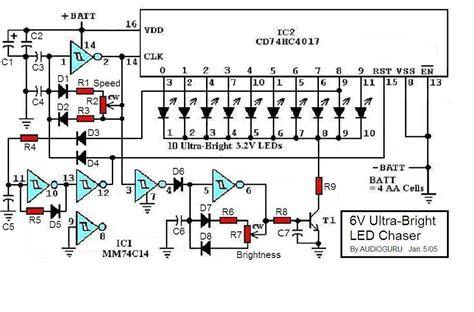 led light chaser circuit diagram 6v ultra bright led chaser electronics lab