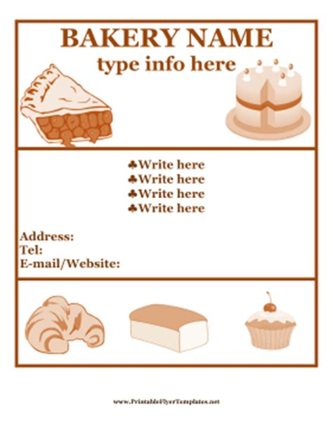 free bakery flyer templates bakery flyer