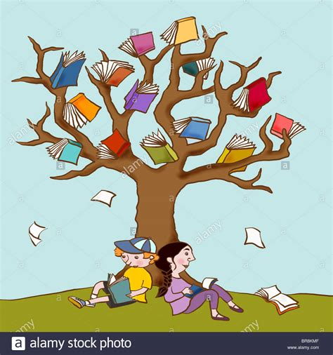 the tree limb books two children resting the book covered branches of a