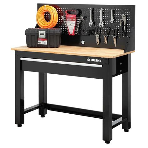 best work bench husky 4 ft solid wood top workbench with storage g4801s