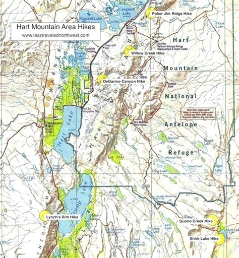 map of oregon mt day hikes in the hart mountain area