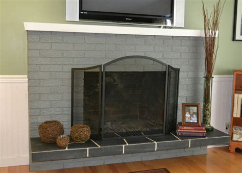 brick fireplace hearth ideas gray painted brick