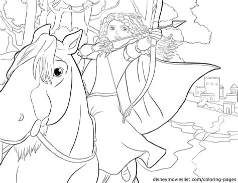 princess merida coloring page disney s brave merida and angus coloring page disney