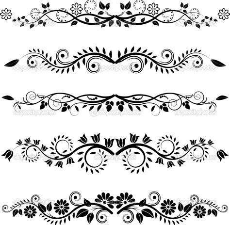 image detail  floral borders  ornaments stock