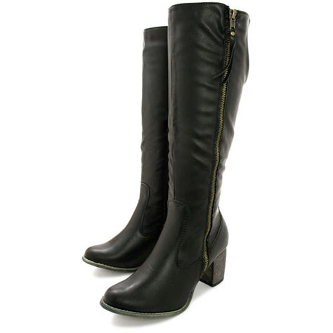 buy mila heeled zip stretch knee high biker boots black