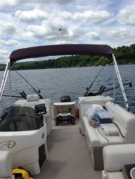 boat trader ontario pontoon pontoon boat set up for downrigger fishing classifieds