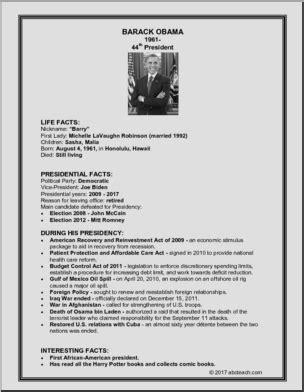 barack obama biography fact sheet fact card 44th president barack obama abcteach