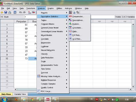 cara membuat tabel distribusi frekuensi pada spss cara mencari mean median modus pada spss