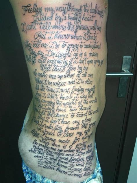 tattoo song lyrics we interviewed the who tattooed all of the lyrics to