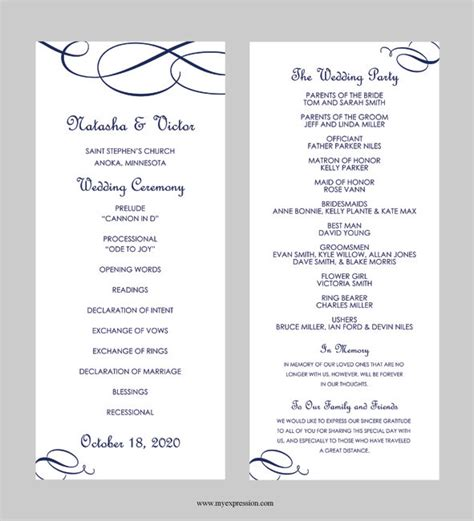 Wedding Program Template Tea Length Calligraphic Flourish Navy Blue Instant Download Celebrate It Templates For Wedding Programs