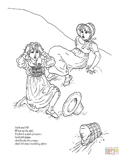 jack and jill went up the hill coloring page free