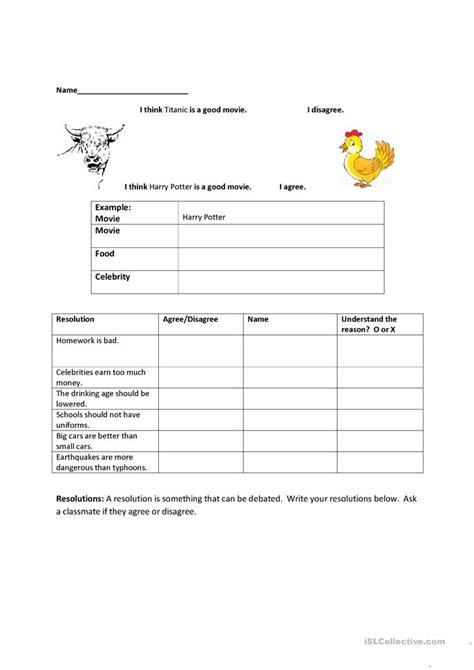 agreedisagree worksheet  esl printable worksheets