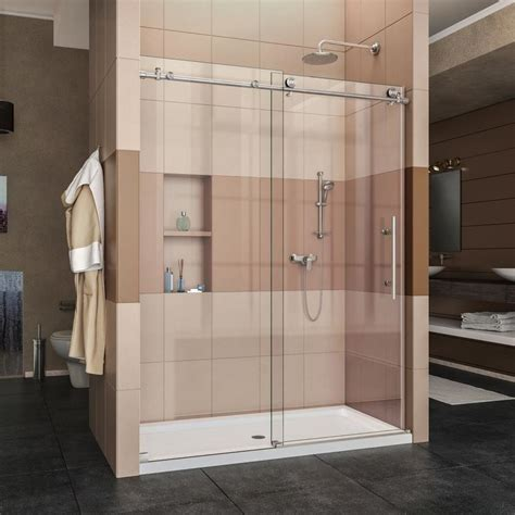 Dreamline Frameless Sliding Shower Door Shop Dreamline Enigma X 56 In To 60 In W Frameless Brushed Stainless Steel Sliding Shower Door