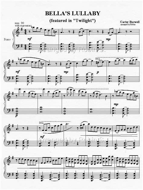 tattooed heart sheet music pdf bella s lullaby beautiful twilight and twilight saga