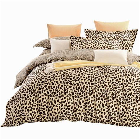 Gggggo Home 4pcs Duvet Cover Set 100 Cotton Leopard Print Size Cheetah Print Bed Set