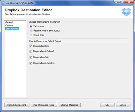 dropbox error dropbox destination component