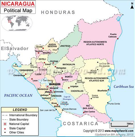define cadena volcanica political map of nicaragua nicaragua departments map