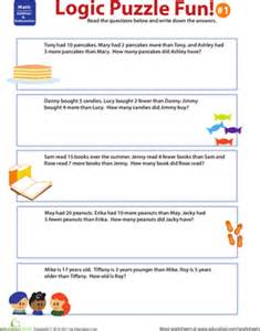logic puzzle fun 1 worksheet education com