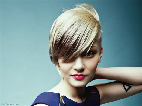 hair cut hair streax with hair short haircut with angled styling and an extra long fringe