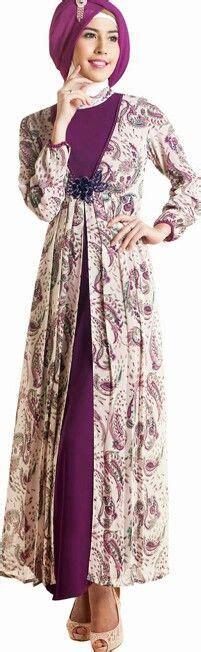 Gamis Remaja Warna Ungu model baju gamis batik kombinasi terbaru trend baju