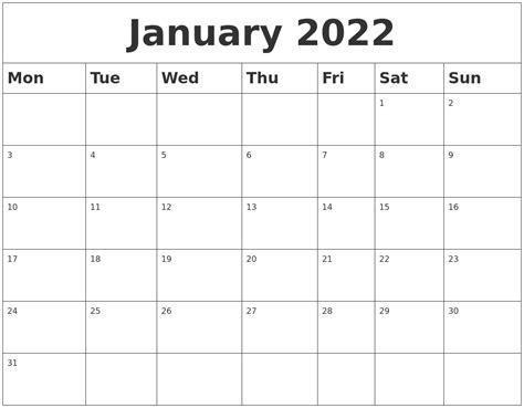 printable calendar 2014 monday start january 2022 blank calendar