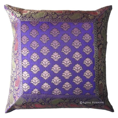 Brocade Pillows blue decorative india silk brocade floral throw pillow