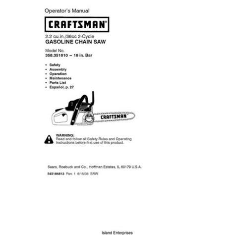 Sears Craftsman 358 351610 36cc 2 Cycle Gasoline Chain Saw