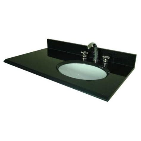 Vanity Top With Offset Right Bowl Pegasus 37 In W Granite Vanity Top In Black With Offset Right Bowl And 8 In Faucet Spread