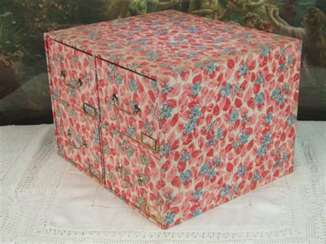 Fabric Covered Drawers by B366 S Vintage Fabric Covered Boudoir Box With Drawers 1950 1960 S La