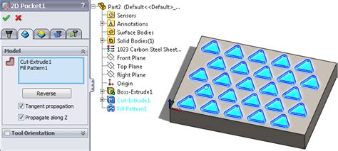 solidworks fill pattern 1 selecting features for 2d geometry hsmworks