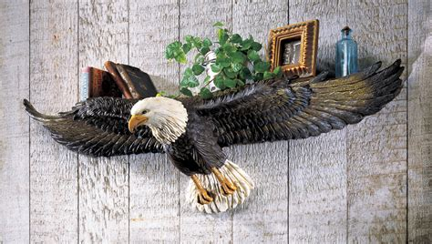 eagle home decor majestic wing span bald eagle statue wall shelf in home