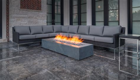 robata 72 concrete linear fire pit traditional home