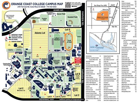 occ map orange coast college on quot a lost around cus here s a map to help you find