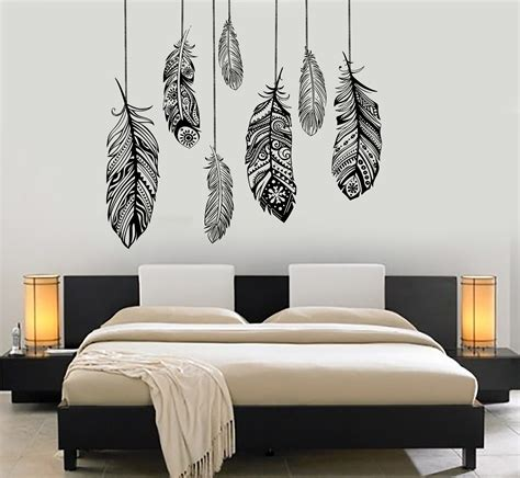 vinyl wall decals wall vinyl decal feather romantic bedroom dreamcatcher